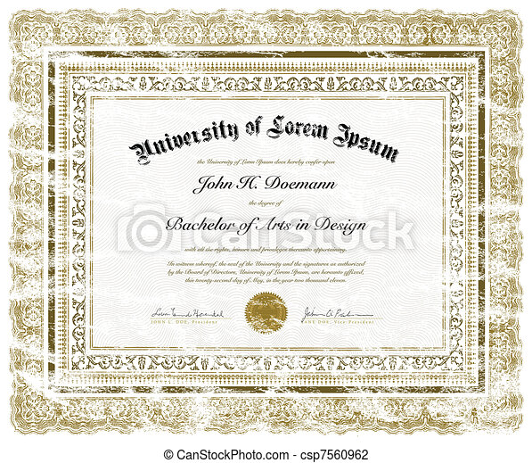 Vector Distressed Diploma - csp7560962