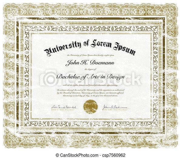 Vector Distressed Diploma - csp7560962