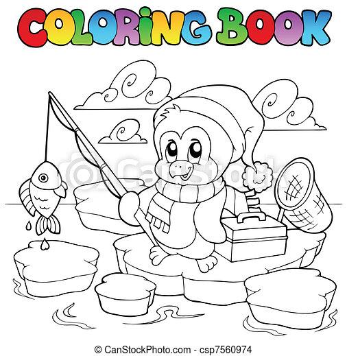 Coloring book fishing penguin - csp7560974