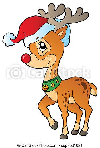 Deer with Christmas cap 1 - csp7561021