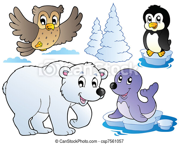 Various happy winter animals - csp7561057
