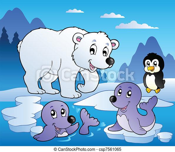 Winter scene with various animals 1 - csp7561065