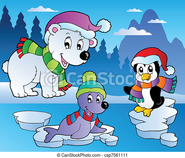 Vector Clip Art of Winter scene with various animals 4 ...