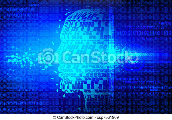 Technological Background with Human Head - csp7561909