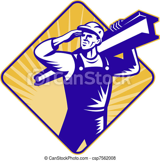 construction worker salute carry i-beam - csp7562008