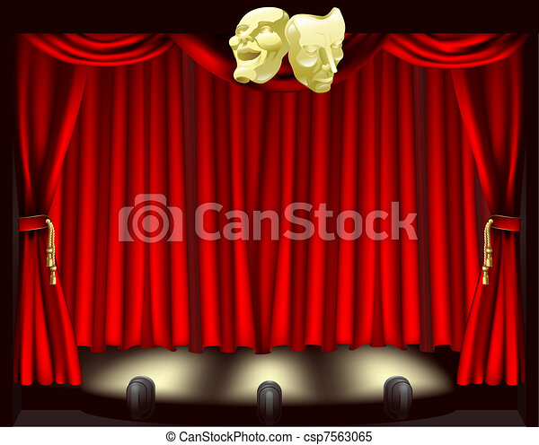 Theatre stage with masks - csp7563065