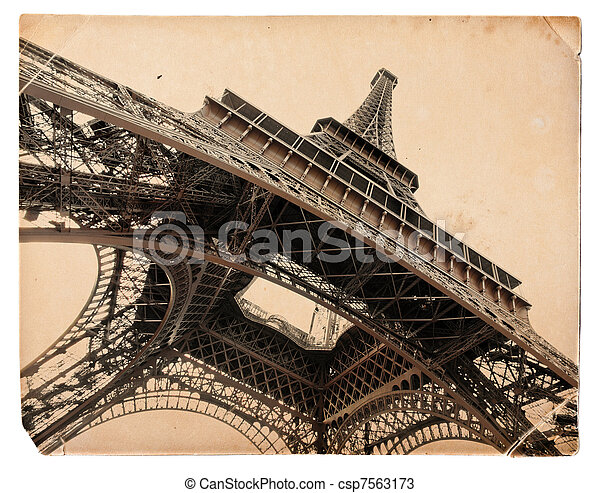 vintage sepia toned postcard of Eiffel tower in Paris - csp7563173