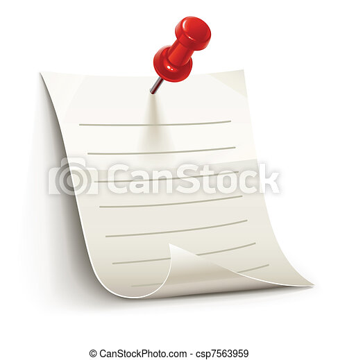 sheet of paper for notes pinned by pin - csp7563959