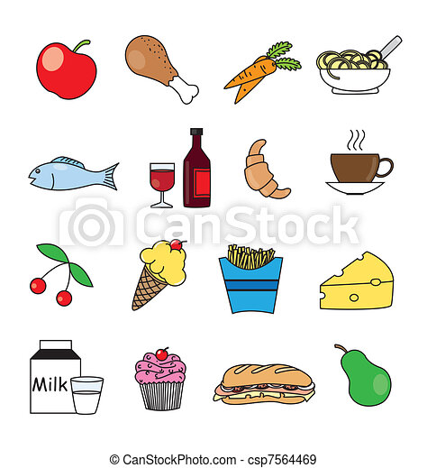 Food and drink icon set in color - csp7564469