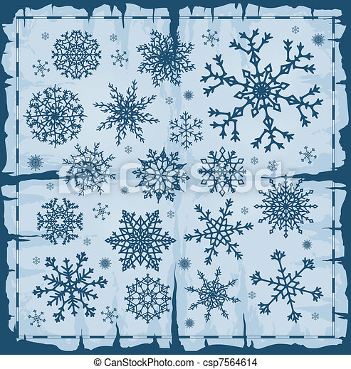 Set of different snowflakes over old damaged page. - csp7564614