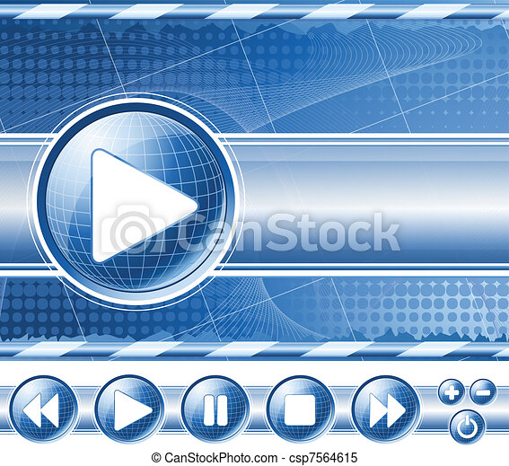 Background with multimedia player controls - csp7564615