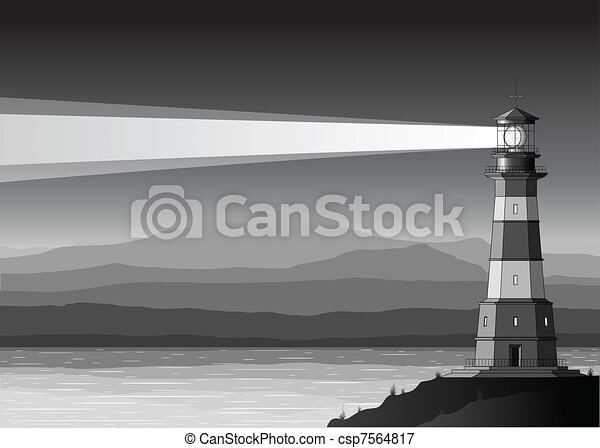 Night landscape with detailed lighthouse, mountains and sea - csp7564817