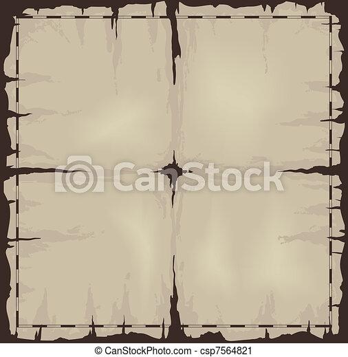 Old damaged dark sheet of paper or map - csp7564821