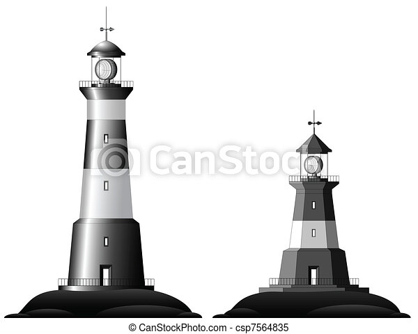 Two Lighthouses - isolated on white - csp7564835