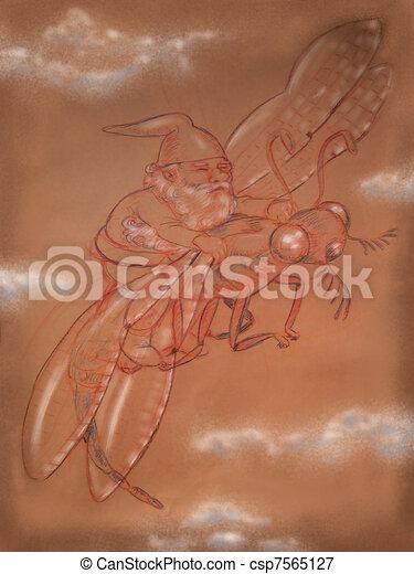 dwarf rides dragonfly - csp7565127