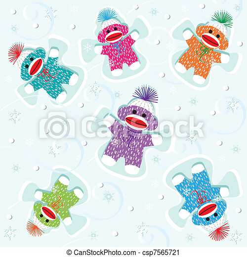 Baby sock monkeys make snow angels - csp7565721