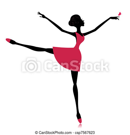 graceful dancer with a butterfly - csp7567623
