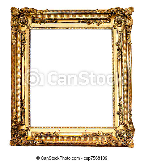 Real old antique gold frame isolated on white - csp7568109