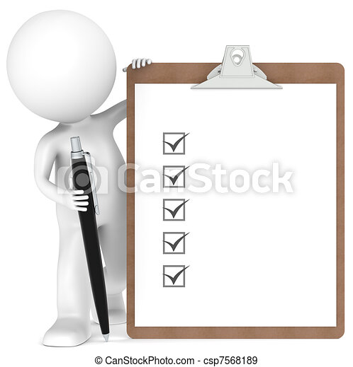 3D little human character holding a Clipboard and Pen - csp7568189