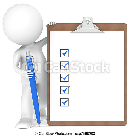 3D little human character holding a Clipboard and Pen - csp7568203