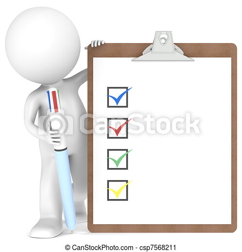 3D little human character holding a Clipboard and Pen - csp7568211