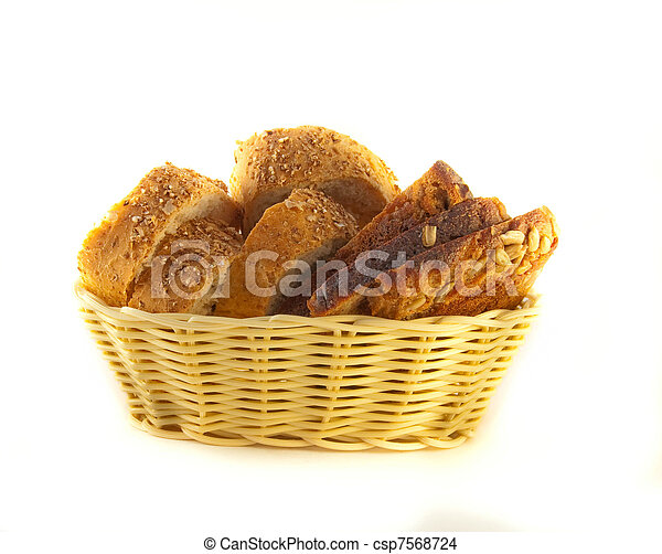 Slices of bread from a flour of a rasping grinding on a white background - csp7568724