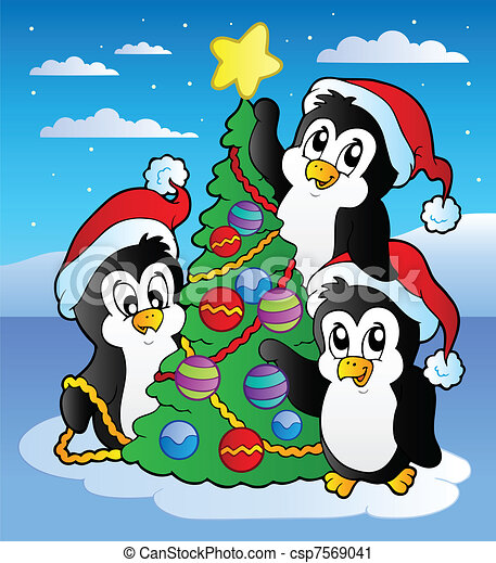 Vectors of Christmas scene with penguin - vector illustration ...