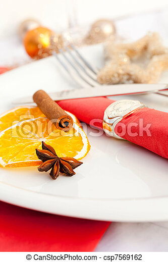 christmas place setting for xmas - csp7569162
