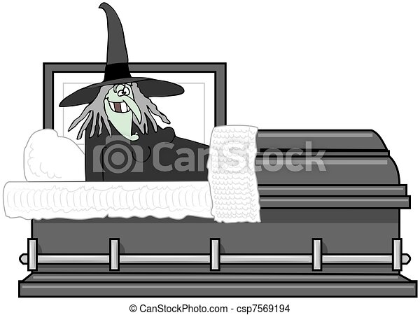 Drawing of Vampire In A Casket - This illustration depicts a ...