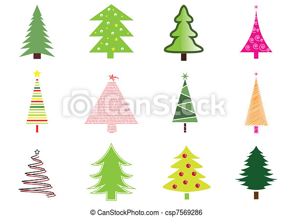 Many christmas trees isolated - csp7569286
