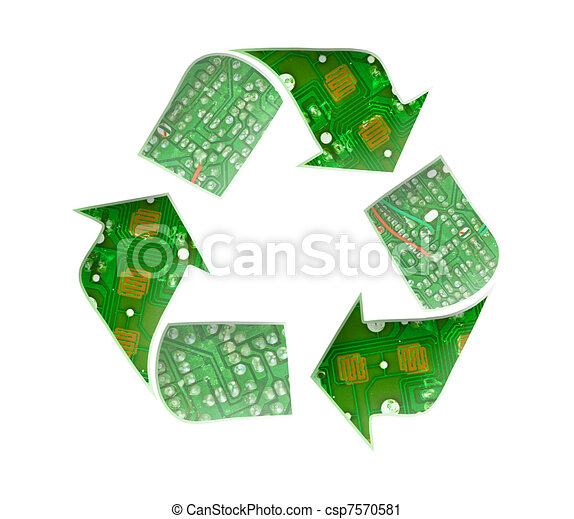 Recycle logo, Electronic waste concept - csp7570581