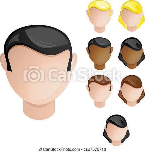 People Heads Male and Female. Set of 4 hair and skin colors - csp7570710
