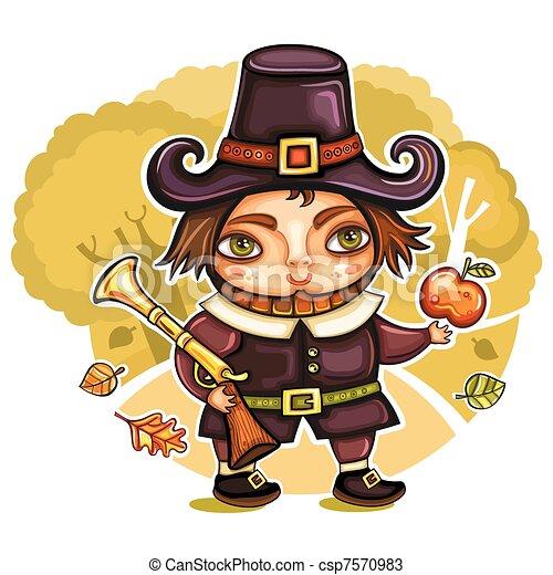 Thanksgiving pilgrim 2 - csp7570983