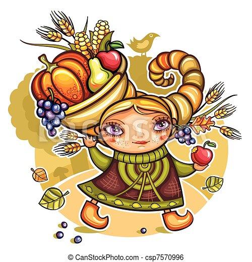 Girl wearing Cornucopia hat 1 - csp7570996