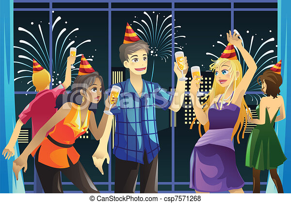 Clip Art Vector of City New Year Party - Vector silhouettes of ...