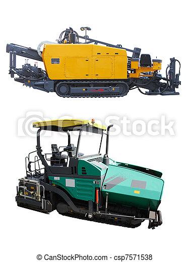 espalhar, asfalto, máquinas - csp7571538