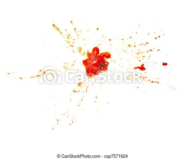 splattered splashed tomato vegetable food - csp7571624