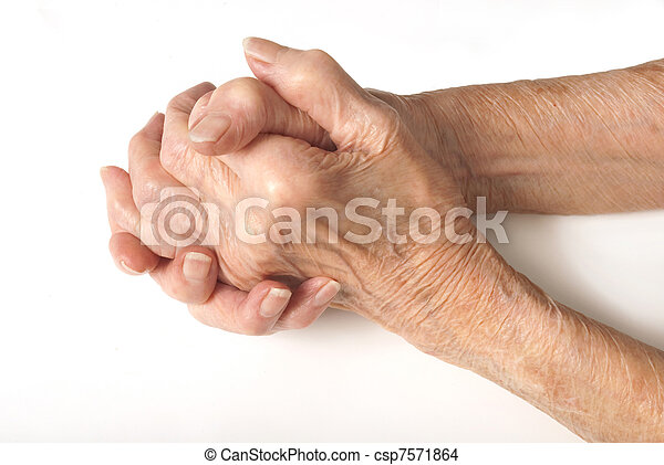 Old Ladies hands clasped - csp7571864