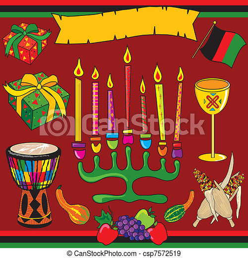 Kwanzaa clipart elements and icons - csp7572519