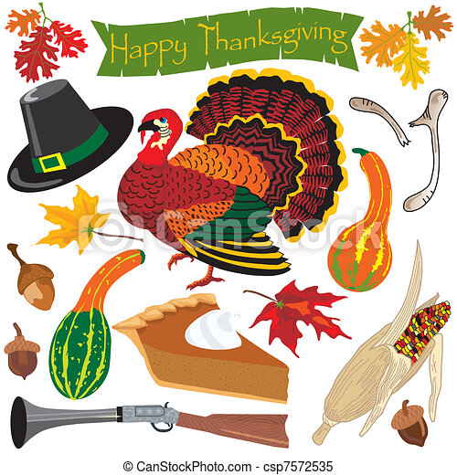 Thanksgiving clipart icons  - csp7572535