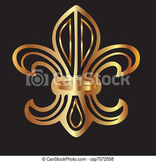 Golden glowing flour de lis symbol - csp7572558
