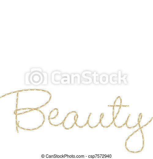 Gold Chain Word Beauty - csp7572940