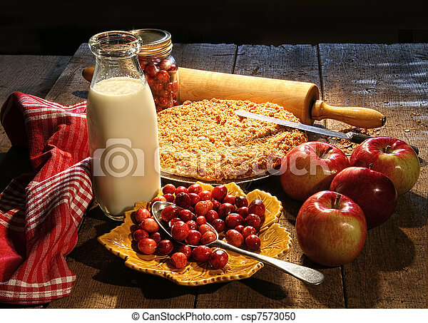 Fres baked apple and cranberry pie  - csp7573050