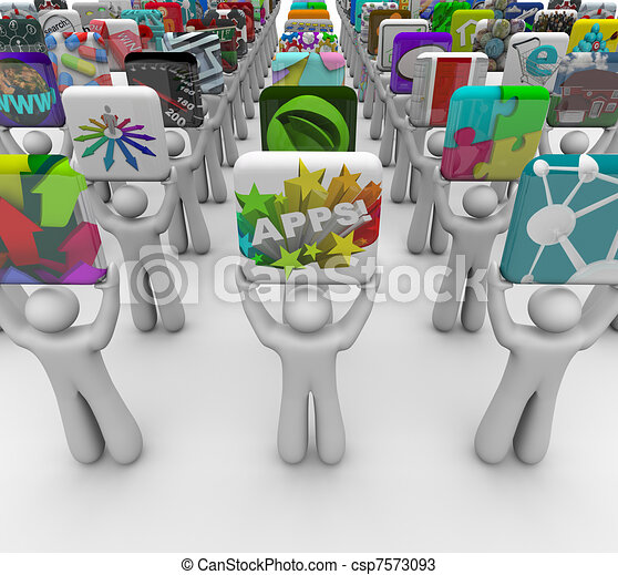 App Developers Present Apps for Sale in Software Store - csp7573093