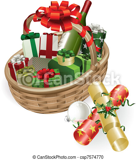 Christmas basket illustration - csp7574770