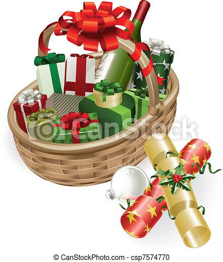 Christmas basket illustration - csp7574770