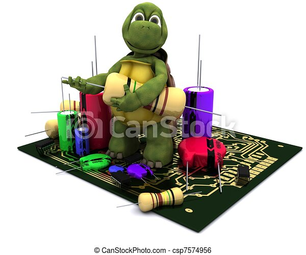 tortoise with a micro chip - csp7574956