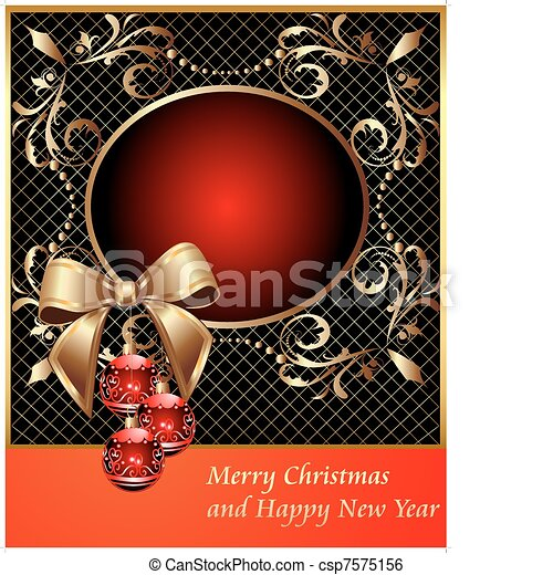 frame with decorative ball on Christmas and bow - csp7575156