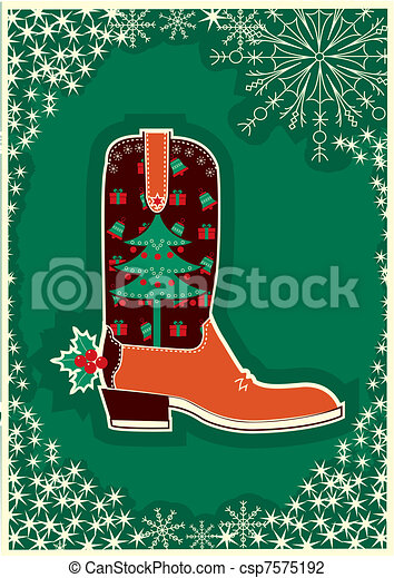 Cowboy christmas card with boot decoration - csp7575192