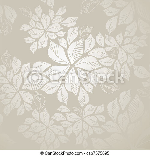 Seamless silver leaves wallpaper - csp7575695